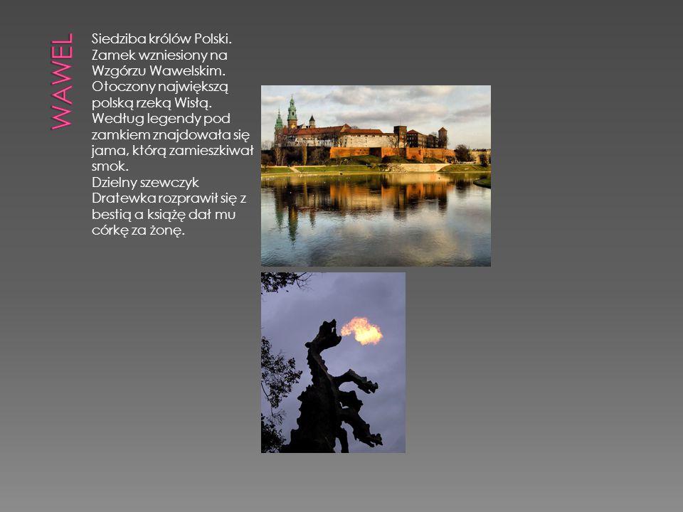 Siedziba królów Polski. Zamek wzniesiony na Wzgórzu Wawelskim. Otoczony największą polską rzeką Wisłą. Według legendy pod zamkiem znajdowała się jama,