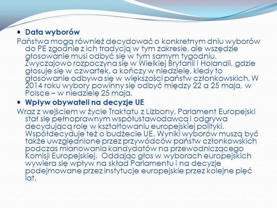 Data wyborów Państwa mogą również decydować o konkretnym dniu wyborów do PE zgodnie z ich tradycją w tym zakresie, ale wszędzie głosowanie musi odbyć się w tym samym tygodniu.