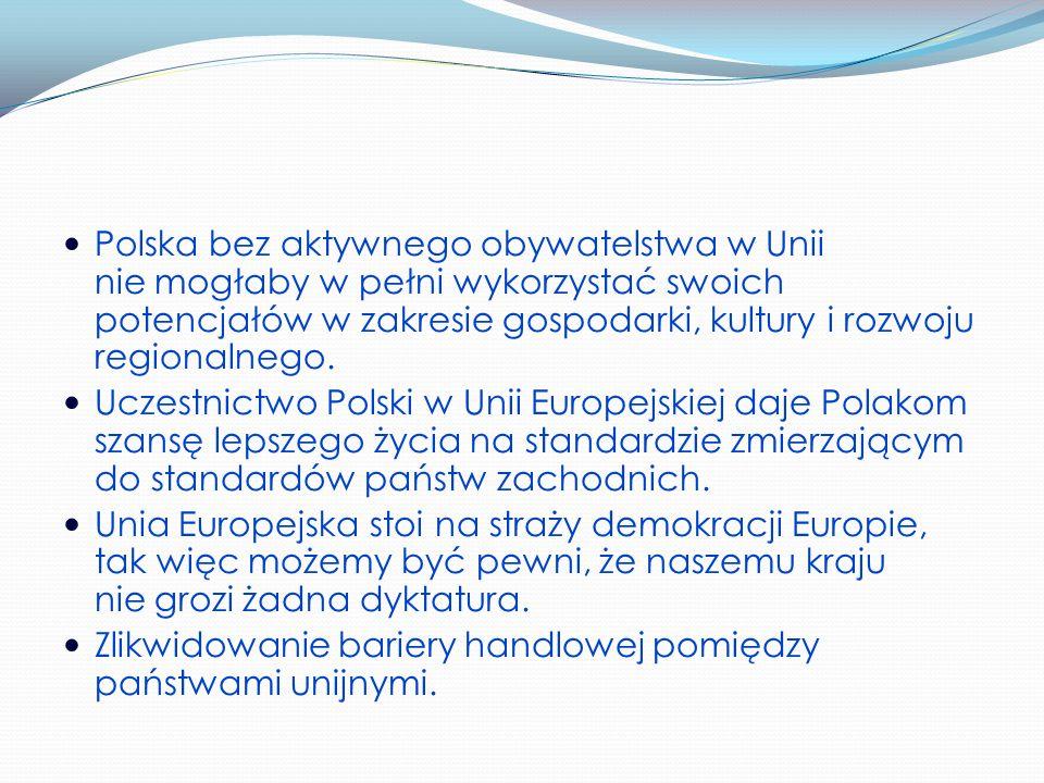 Polska bez aktywnego obywatelstwa w Unii nie mogłaby w pełni wykorzystać swoich potencjałów w zakresie gospodarki, kultury i rozwoju regionalnego.