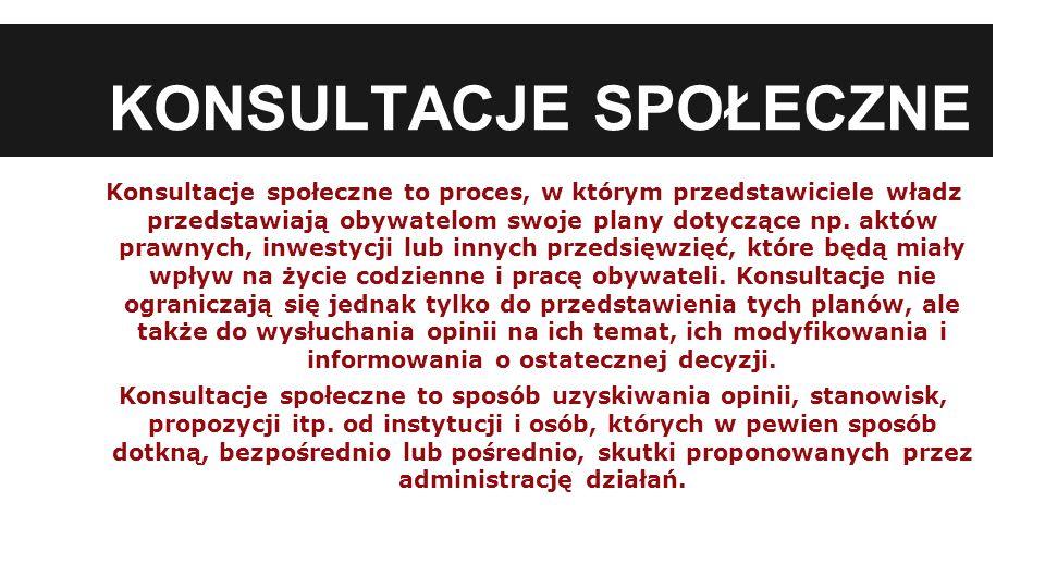 KONSULTACJE SPOŁECZNE Konsultacje społeczne to proces, w którym przedstawiciele władz przedstawiają obywatelom swoje plany dotyczące np.