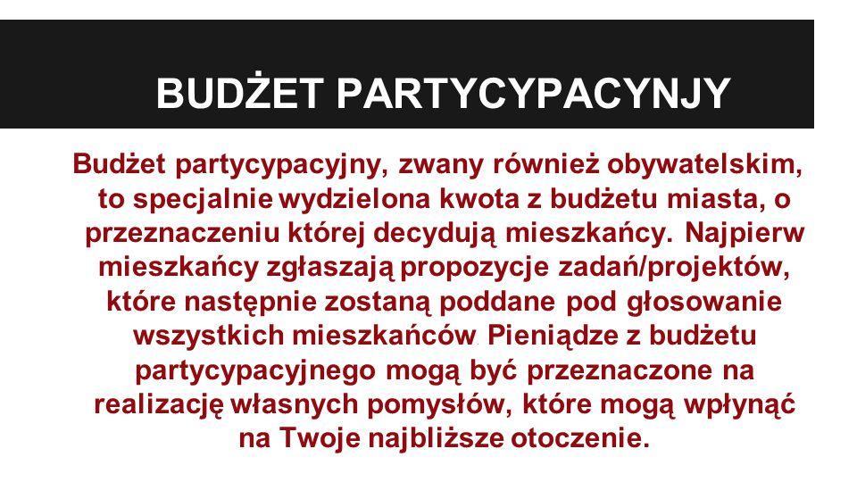 BUDŻET PARTYCYPACYNJY Budżet partycypacyjny, zwany również obywatelskim, to specjalnie wydzielona kwota z budżetu miasta, o przeznaczeniu której decydują mieszkańcy.