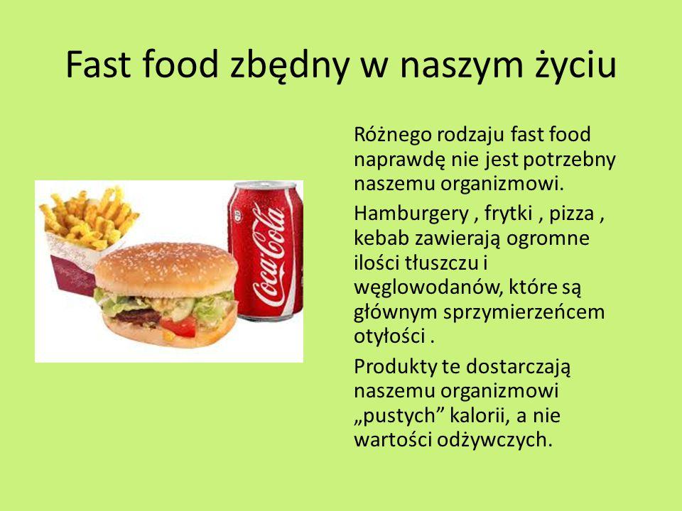 Fast food zbędny w naszym życiu Różnego rodzaju fast food naprawdę nie jest potrzebny naszemu organizmowi.