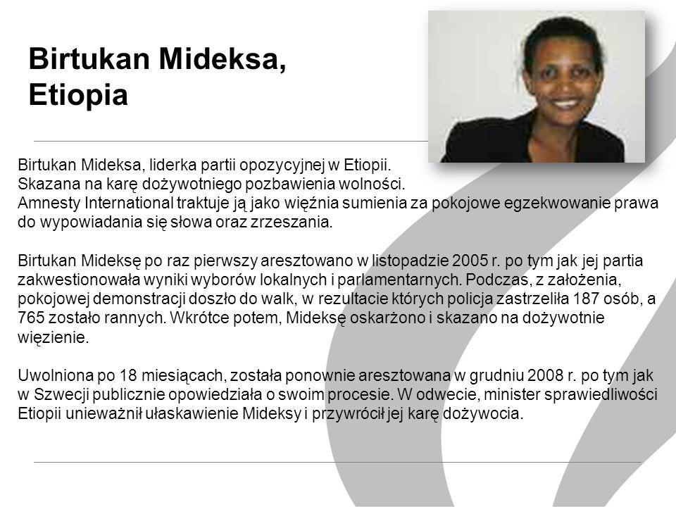 Birtukan Mideksa, Etiopia Birtukan Mideksa, liderka partii opozycyjnej w Etiopii.