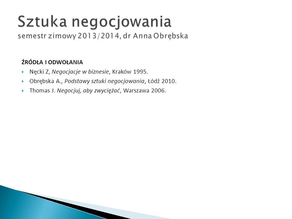 ŹRÓDŁA I ODWOŁANIA  Nęcki Z, Negocjacje w biznesie, Kraków 1995.  Obrębska A., Podstawy sztuki negocjowania, Łódź 2010.  Thomas J. Negocjuj, aby zw