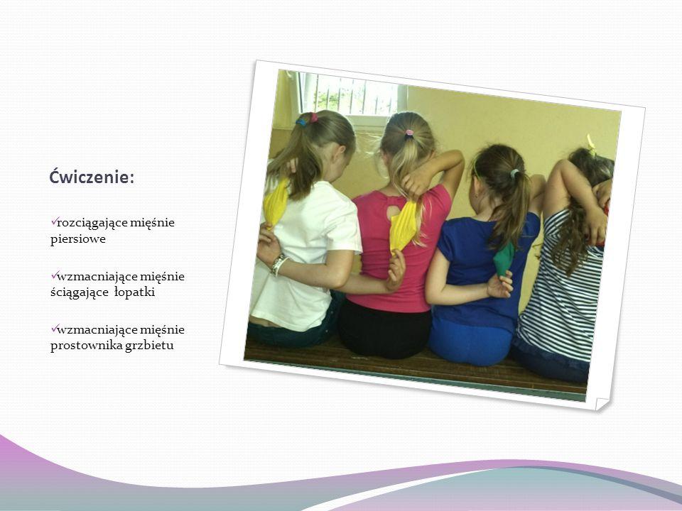 Ćwiczenie: rozciągające mięśnie piersiowe wzmacniające mięśnie ściągające łopatki wzmacniające mięśnie prostownika grzbietu