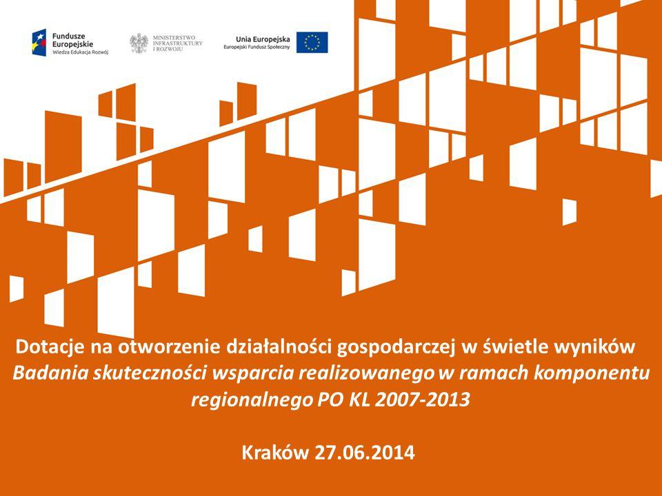 Dotacje na otworzenie działalności gospodarczej w świetle wyników Badania skuteczności wsparcia realizowanego w ramach komponentu regionalnego PO KL 2007-2013 Kraków 27.06.2014