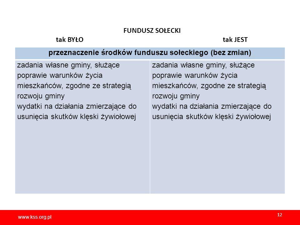www.kss.org.pl 12 www.kss.org.pl 12 FUNDUSZ SOŁECKI tak BYŁO tak JEST przeznaczenie środków funduszu sołeckiego (bez zmian) zadania własne gminy, służ