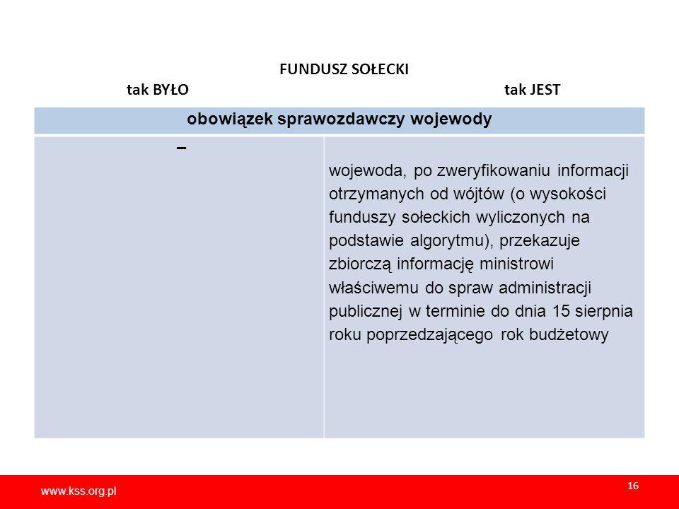 www.kss.org.pl 16 www.kss.org.pl 16 FUNDUSZ SOŁECKI tak BYŁO tak JEST obowiązek sprawozdawczy wojewody – wojewoda, po zweryfikowaniu informacji otrzymanych od wójtów (o wysokości funduszy sołeckich wyliczonych na podstawie algorytmu), przekazuje zbiorczą informację ministrowi właściwemu do spraw administracji publicznej w terminie do dnia 15 sierpnia roku poprzedzającego rok budżetowy