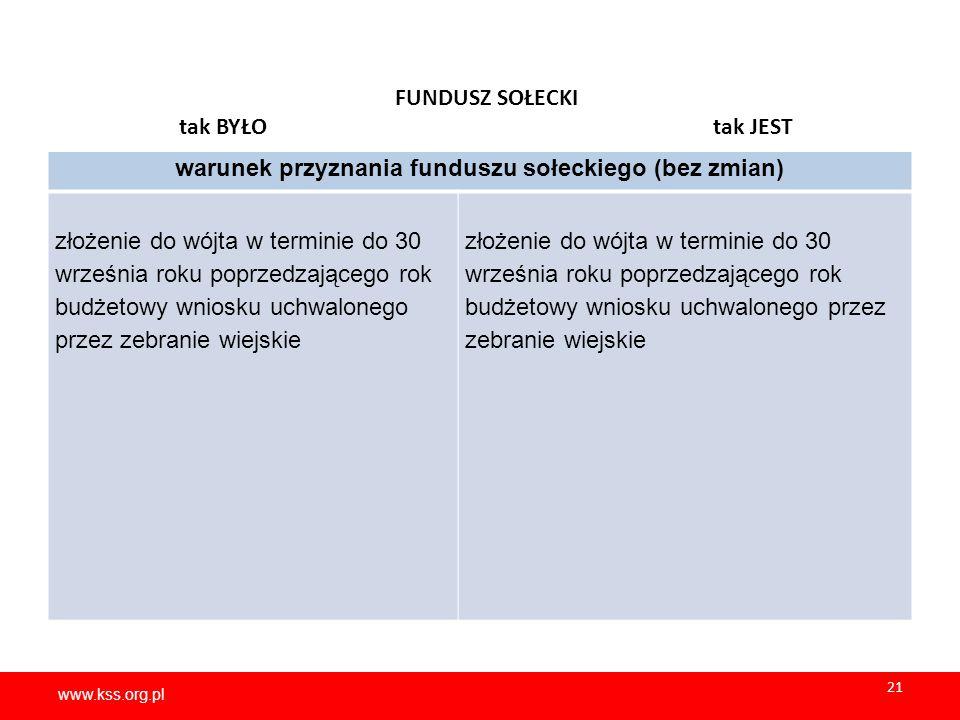 www.kss.org.pl 21 www.kss.org.pl 21 FUNDUSZ SOŁECKI tak BYŁO tak JEST warunek przyznania funduszu sołeckiego (bez zmian) złożenie do wójta w terminie do 30 września roku poprzedzającego rok budżetowy wniosku uchwalonego przez zebranie wiejskie