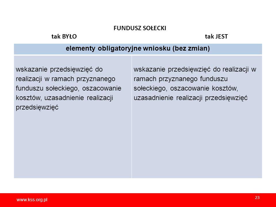 www.kss.org.pl 23 www.kss.org.pl 23 FUNDUSZ SOŁECKI tak BYŁO tak JEST elementy obligatoryjne wniosku (bez zmian) wskazanie przedsięwzięć do realizacji w ramach przyznanego funduszu sołeckiego, oszacowanie kosztów, uzasadnienie realizacji przedsięwzięć