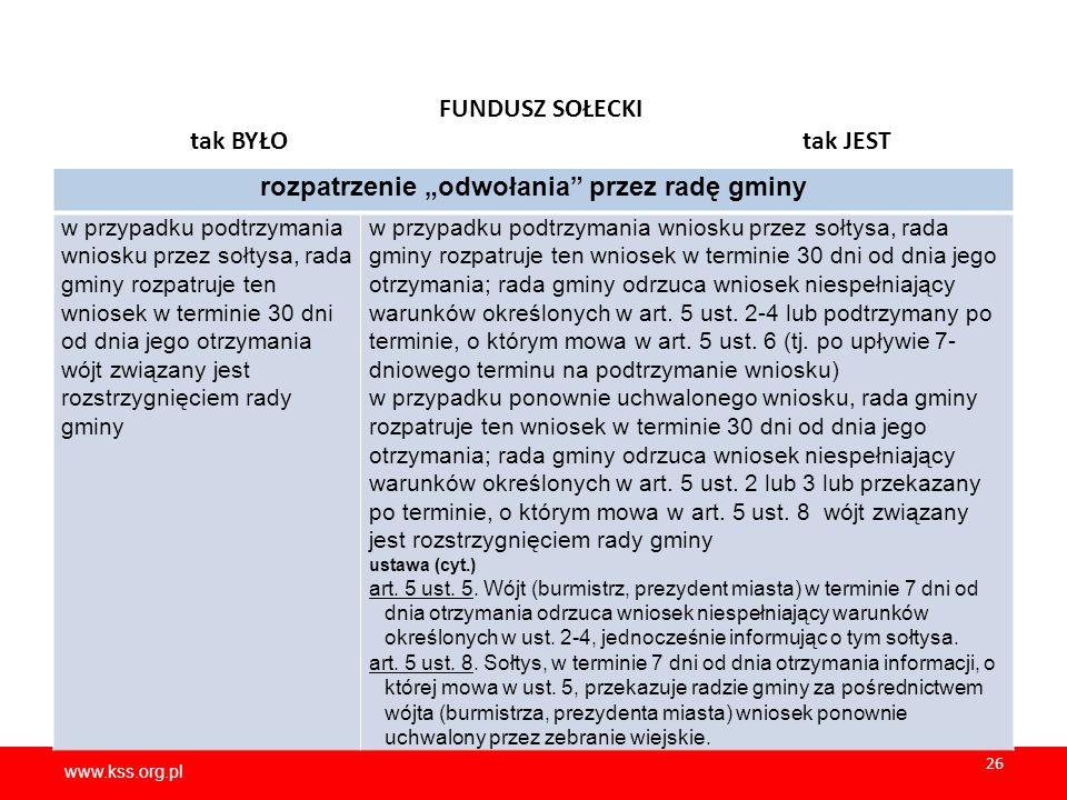 """www.kss.org.pl 26 www.kss.org.pl 26 FUNDUSZ SOŁECKI tak BYŁO tak JEST rozpatrzenie """"odwołania"""" przez radę gminy w przypadku podtrzymania wniosku przez"""