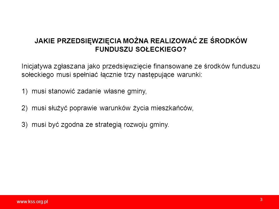 www.kss.org.pl 4 KTÓRE ZADANIA SĄ ZADANIAMI WŁASNYMI GMINY.
