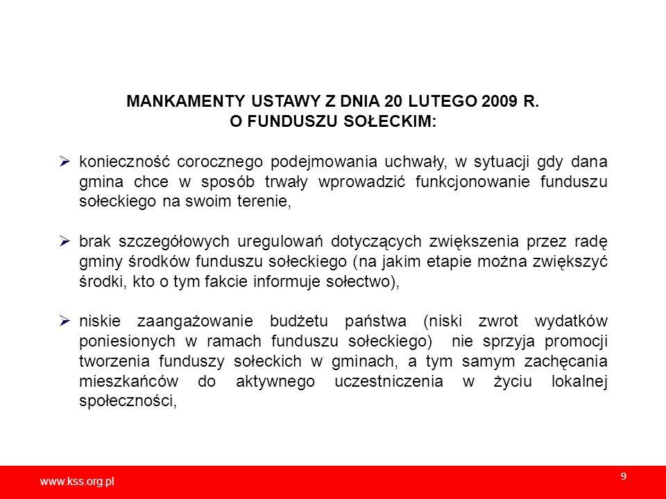 www.kss.org.pl 10 USTAWA z dnia 21 lutego 2014 r.o funduszu sołeckim (Dz.