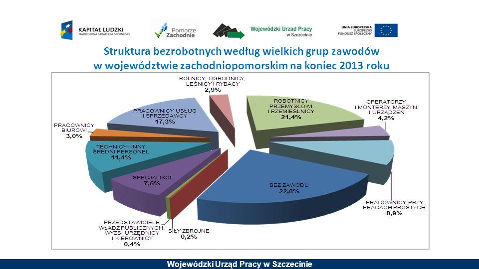 Wojewódzki Urząd Pracy w Szczecinie Struktura bezrobotnych według wielkich grup zawodów w województwie zachodniopomorskim na koniec 2013 roku
