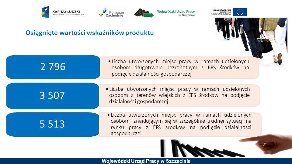 Wojewódzki Urząd Pracy w Szczecinie Liczba utworzonych miejsc pracy w ramach udzielonych osobom długotrwale bezrobotnym z EFS środków na podjęcie dzia