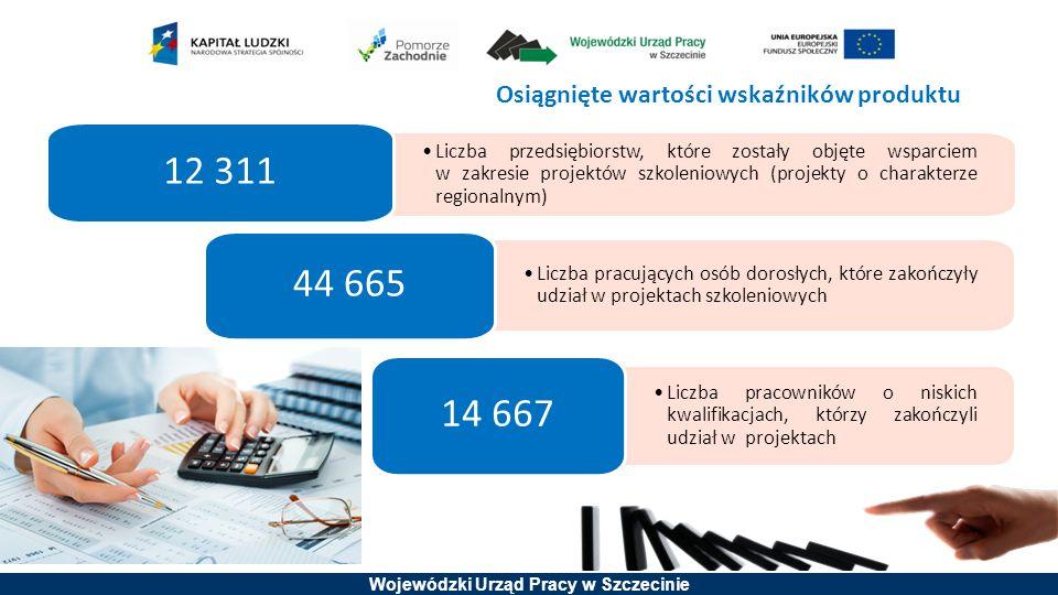 Wojewódzki Urząd Pracy w Szczecinie Osiągnięte wartości wskaźników produktu Liczba przedsiębiorstw, które zostały objęte wsparciem w zakresie projektó
