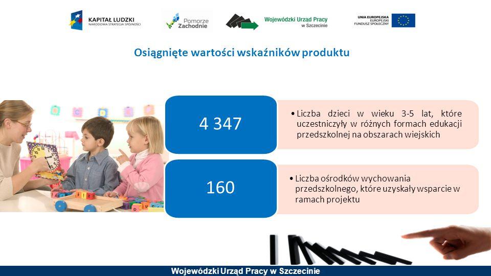 Wojewódzki Urząd Pracy w Szczecinie Osiągnięte wartości wskaźników produktu Liczba dzieci w wieku 3-5 lat, które uczestniczyły w różnych formach eduka