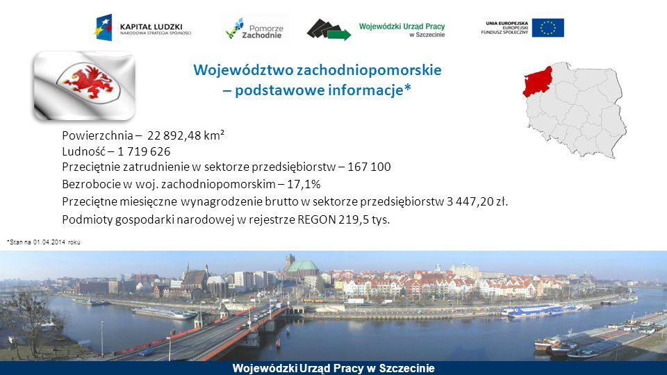 Wojewódzki Urząd Pracy w Szczecinie Województwo zachodniopomorskie – podstawowe informacje* Powierzchnia – 22 892,48 km² Ludność – 1 719 626 Przeciętn