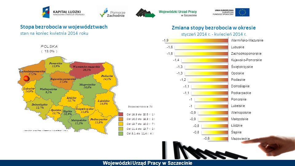 Wojewódzki Urząd Pracy w Szczecinie Osiągnięte wartości wskaźników produktu Liczba przedsiębiorstw, które zostały objęte wsparciem w zakresie projektów szkoleniowych (projekty o charakterze regionalnym) 12 311 Liczba pracujących osób dorosłych, które zakończyły udział w projektach szkoleniowych 44 665 Liczba pracowników o niskich kwalifikacjach, którzy zakończyli udział w projektach 14 667