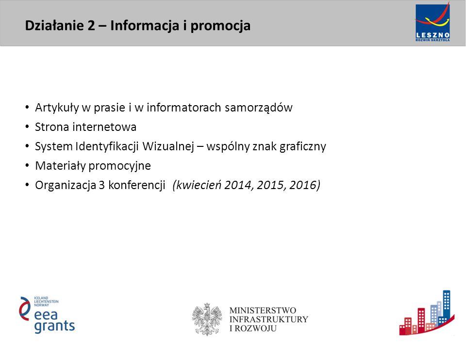 Artykuły w prasie i w informatorach samorządów Strona internetowa System Identyfikacji Wizualnej – wspólny znak graficzny Materiały promocyjne Organizacja 3 konferencji (kwiecień 2014, 2015, 2016) Działanie 2 – Informacja i promocja