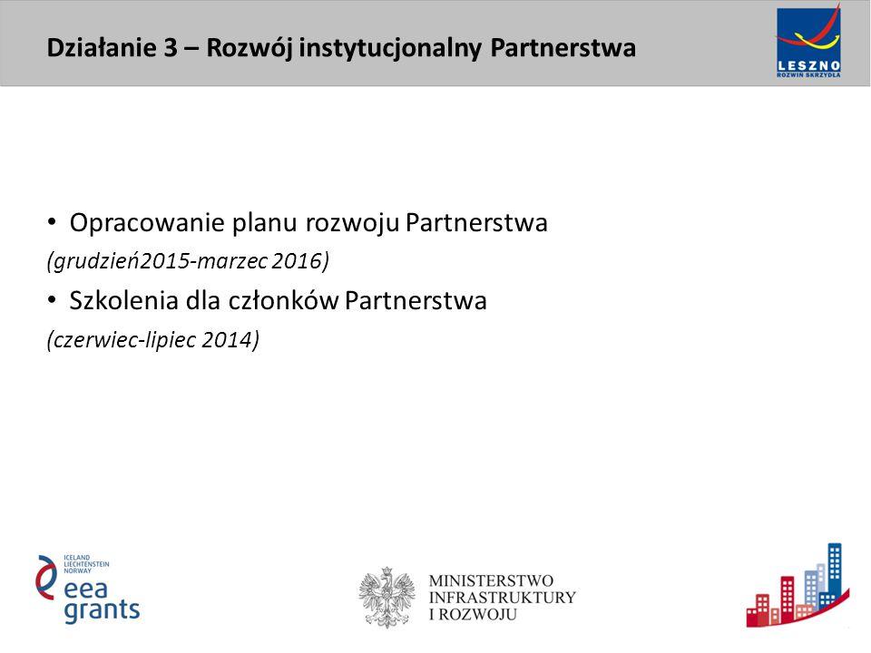 Opracowanie planu rozwoju Partnerstwa (grudzień2015-marzec 2016) Szkolenia dla członków Partnerstwa (czerwiec-lipiec 2014) Działanie 3 – Rozwój instytucjonalny Partnerstwa