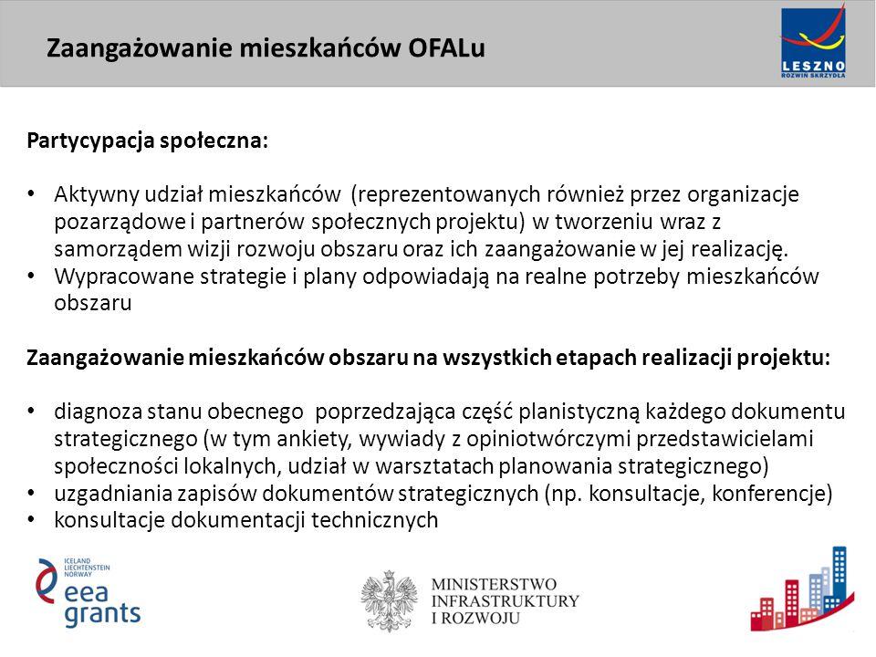 Partycypacja społeczna: Aktywny udział mieszkańców (reprezentowanych również przez organizacje pozarządowe i partnerów społecznych projektu) w tworzen