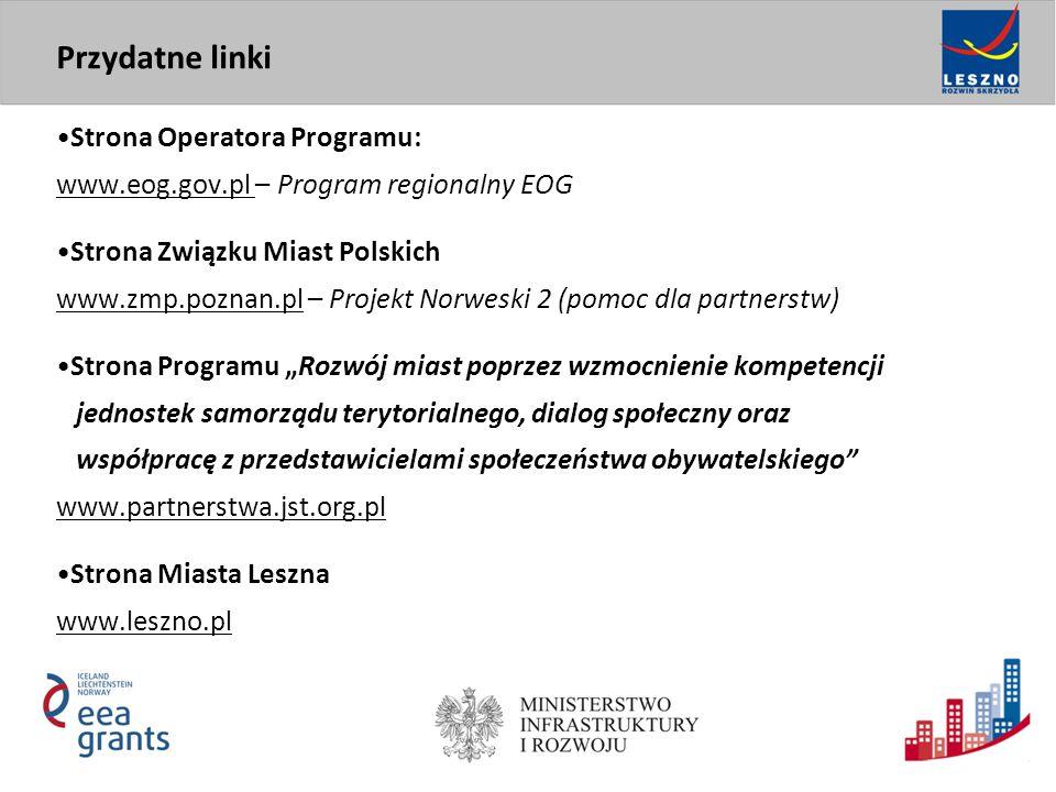 Strona Operatora Programu: www.eog.gov.pl – Program regionalny EOG Strona Związku Miast Polskich www.zmp.poznan.pl – Projekt Norweski 2 (pomoc dla par