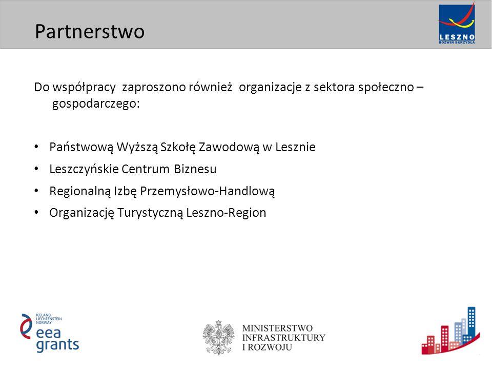 Do współpracy zaproszono również organizacje z sektora społeczno – gospodarczego: Państwową Wyższą Szkołę Zawodową w Lesznie Leszczyńskie Centrum Biznesu Regionalną Izbę Przemysłowo-Handlową Organizację Turystyczną Leszno-Region