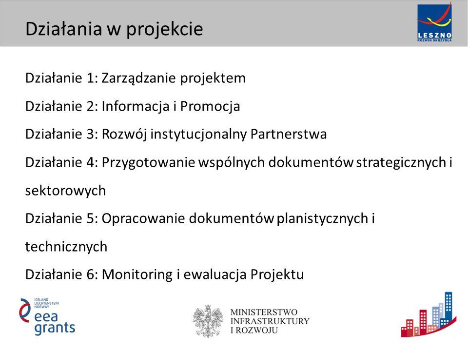 Działanie 1: Zarządzanie projektem Działanie 2: Informacja i Promocja Działanie 3: Rozwój instytucjonalny Partnerstwa Działanie 4: Przygotowanie wspólnych dokumentów strategicznych i sektorowych Działanie 5: Opracowanie dokumentów planistycznych i technicznych Działanie 6: Monitoring i ewaluacja Projektu Działania w projekcie