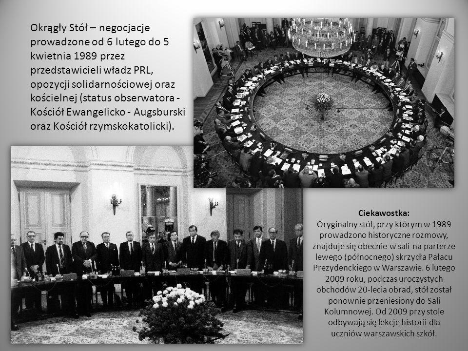 Okrągły Stół – negocjacje prowadzone od 6 lutego do 5 kwietnia 1989 przez przedstawicieli władz PRL, opozycji solidarnościowej oraz kościelnej (statu
