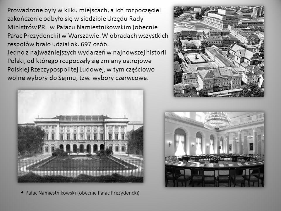 Prowadzone były w kilku miejscach, a ich rozpoczęcie i zakończenie odbyło się w siedzibie Urzędu Rady Ministrów PRL w Pałacu Namiestnikowskim (obecni