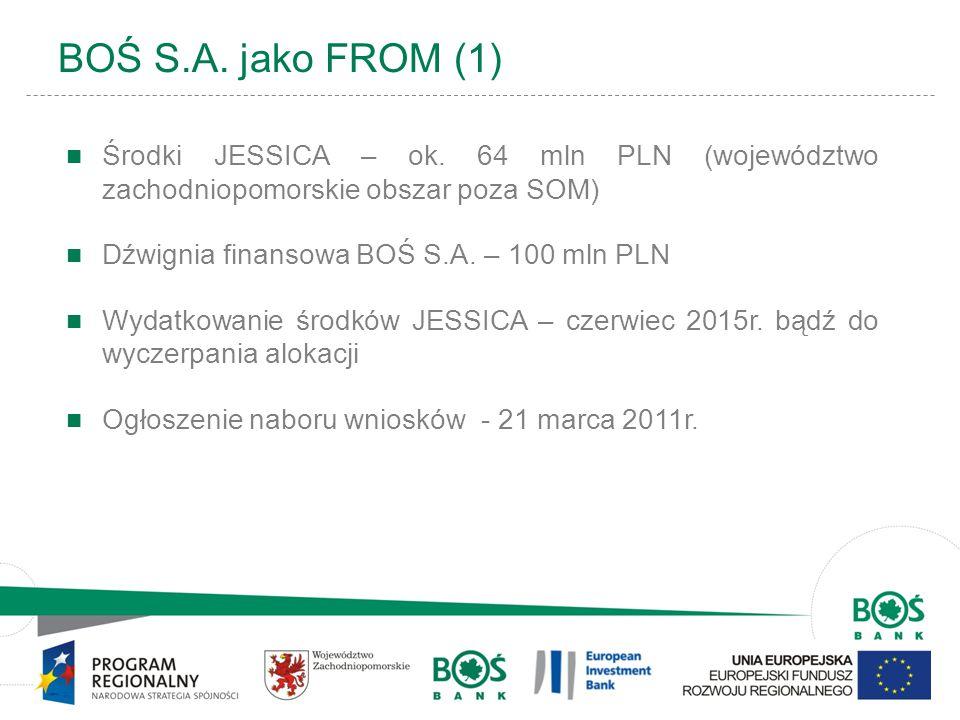 2 BOŚ S.A. jako FROM (1) Środki JESSICA – ok. 64 mln PLN (województwo zachodniopomorskie obszar poza SOM) Dźwignia finansowa BOŚ S.A. – 100 mln PLN Wy