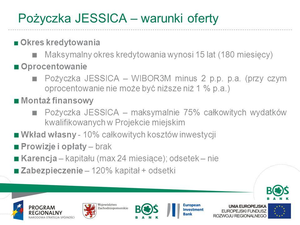 4 Pożyczka JESSICA – warunki oferty Okres kredytowania Maksymalny okres kredytowania wynosi 15 lat (180 miesięcy) Oprocentowanie Pożyczka JESSICA – WIBOR3M minus 2 p.p.