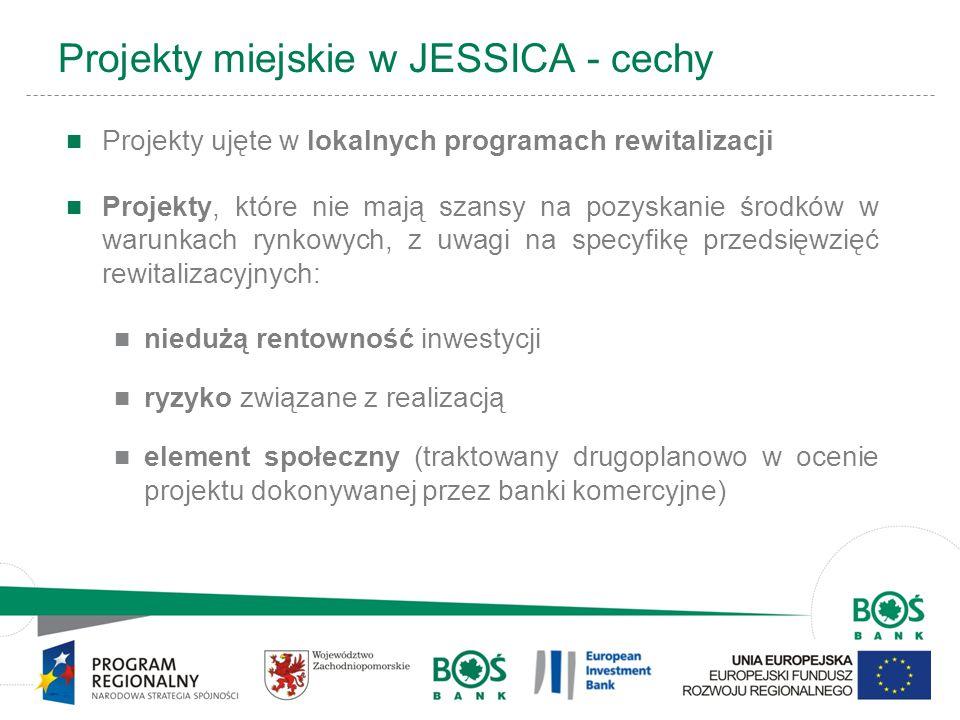 5 Projekty miejskie w JESSICA - cechy Projekty ujęte w lokalnych programach rewitalizacji Projekty, które nie mają szansy na pozyskanie środków w waru