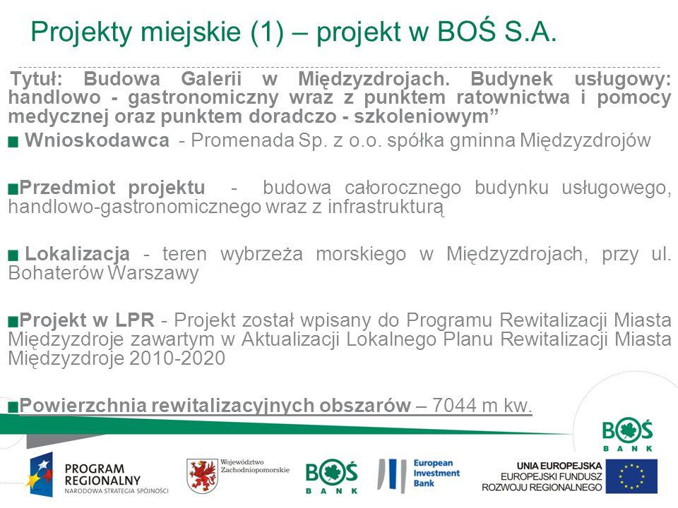 6 Projekty miejskie (1) – projekt w BOŚ S.A. Tytuł: Budowa Galerii w Międzyzdrojach. Budynek usługowy: handlowo - gastronomiczny wraz z punktem ratown