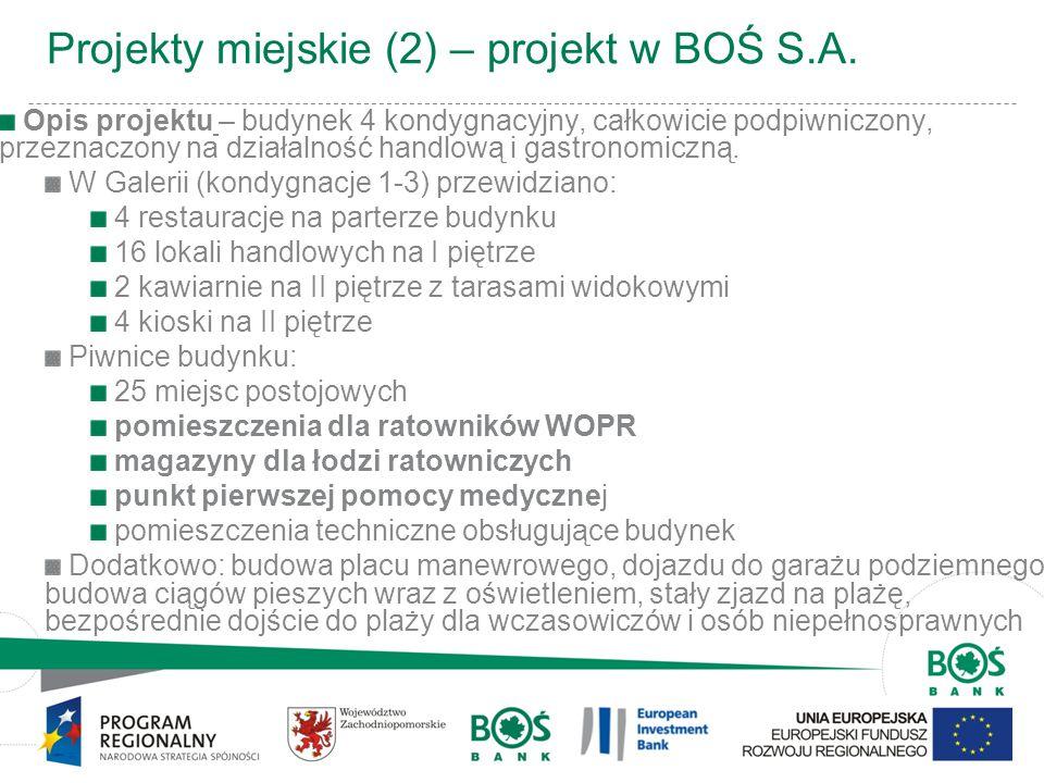 7 Projekty miejskie (2) – projekt w BOŚ S.A. Opis projektu – budynek 4 kondygnacyjny, całkowicie podpiwniczony, przeznaczony na działalność handlową i