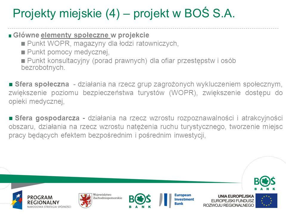 9 Projekty miejskie (4) – projekt w BOŚ S.A. Główne elementy społeczne w projekcie Punkt WOPR, magazyny dla łodzi ratowniczych, Punkt pomocy medycznej