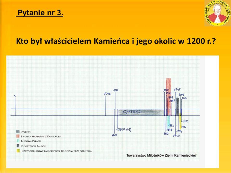 Pytanie nr 3. Kto był właścicielem Kamieńca i jego okolic w 1200 r.?