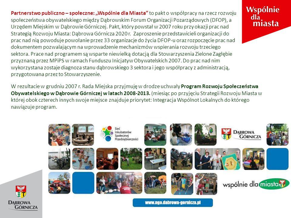 """Partnerstwo publiczno – społeczne: """"Wspólnie dla Miasta to pakt o współpracy na rzecz rozwoju społeczeństwa obywatelskiego między Dąbrowskim Forum Organizacji Pozarządowych (DFOP), a Urzędem Miejskim w Dąbrowie Górniczej."""