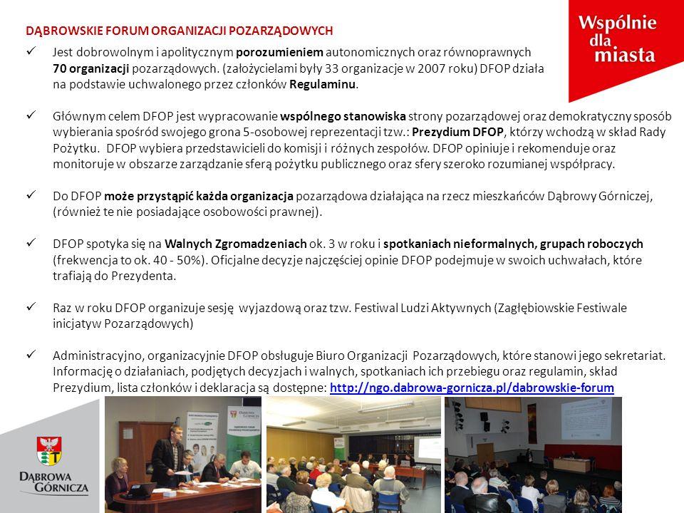 DĄBROWSKIE FORUM ORGANIZACJI POZARZĄDOWYCH Jest dobrowolnym i apolitycznym porozumieniem autonomicznych oraz równoprawnych 70 organizacji pozarządowych.