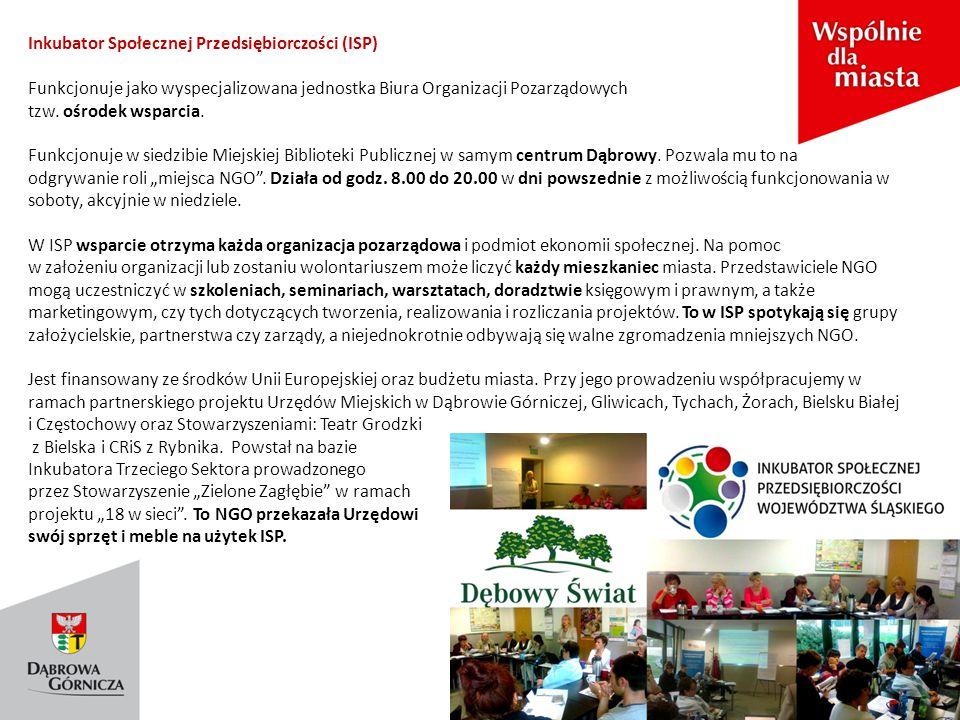 Inkubator Społecznej Przedsiębiorczości (ISP) Funkcjonuje jako wyspecjalizowana jednostka Biura Organizacji Pozarządowych tzw.