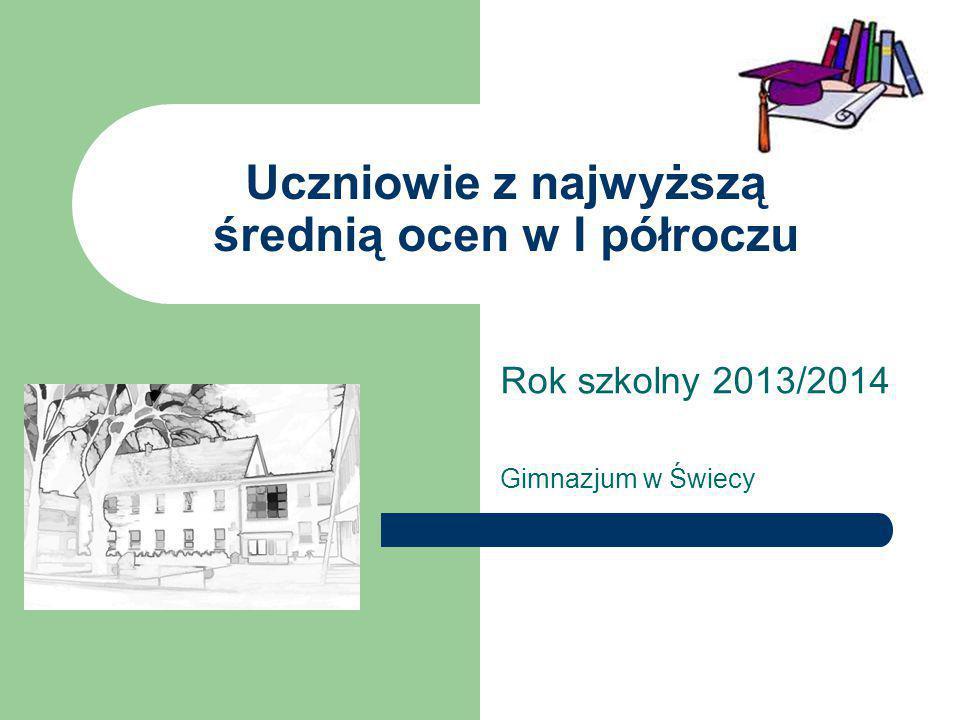 Uczniowie z najwyższą średnią ocen w I półroczu Rok szkolny 2013/2014 Gimnazjum w Świecy