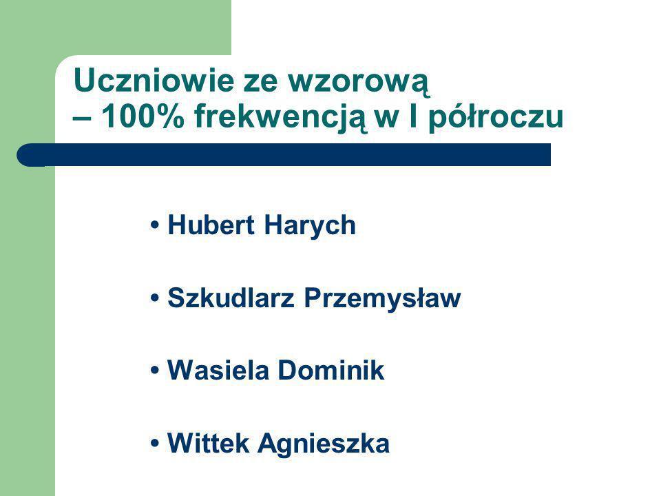 Uczniowie ze wzorową – 100% frekwencją w I półroczu Hubert Harych Szkudlarz Przemysław Wasiela Dominik Wittek Agnieszka