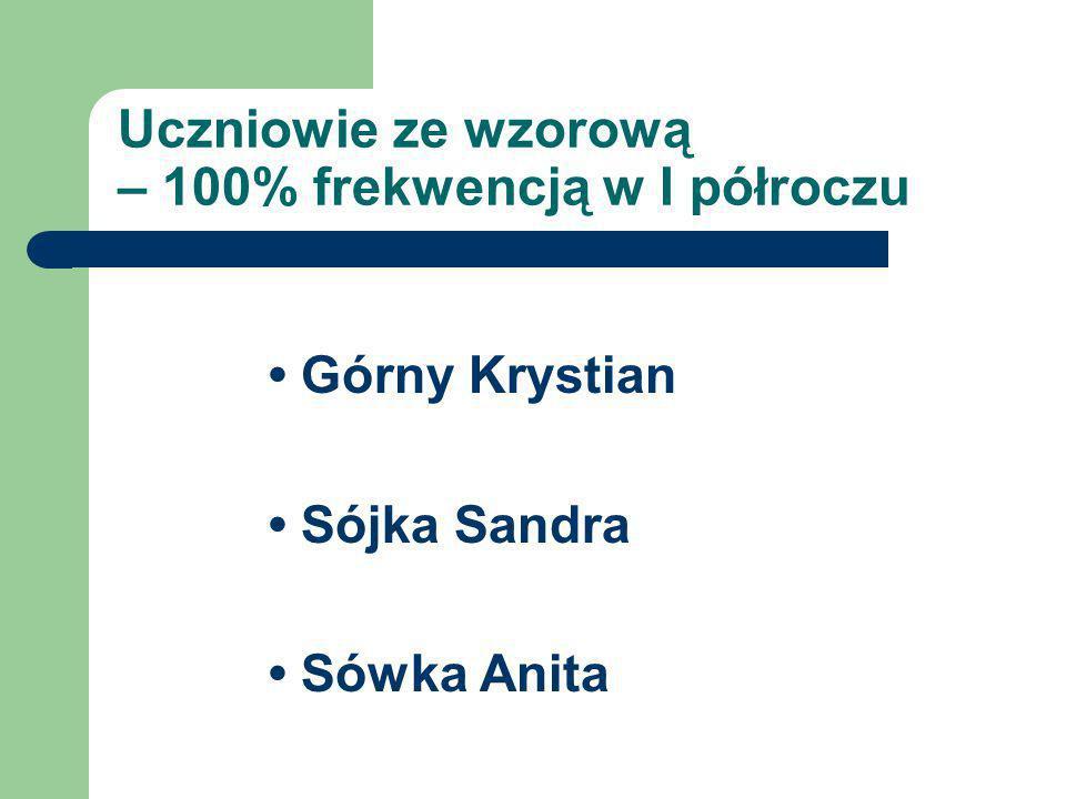 Uczniowie ze wzorową – 100% frekwencją w I półroczu Górny Krystian Sójka Sandra Sówka Anita