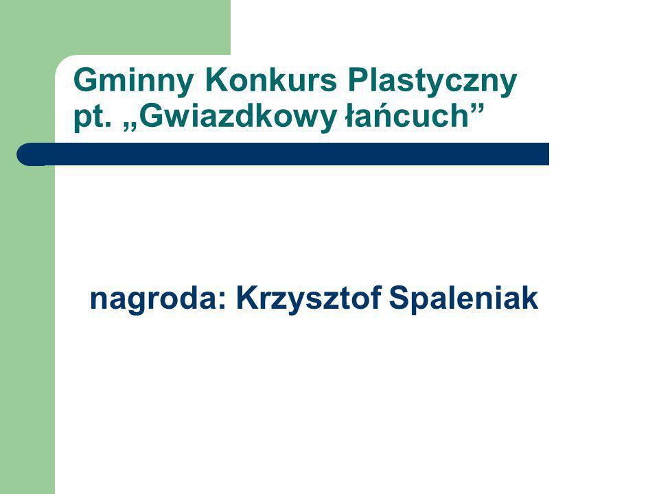 """Gminny Konkurs Plastyczny pt. """"Gwiazdkowy łańcuch"""" nagroda: Krzysztof Spaleniak"""