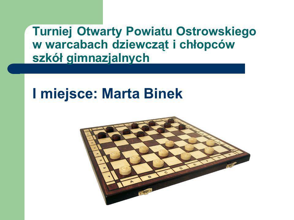 Turniej Otwarty Powiatu Ostrowskiego w warcabach dziewcząt i chłopców szkół gimnazjalnych I miejsce: Marta Binek