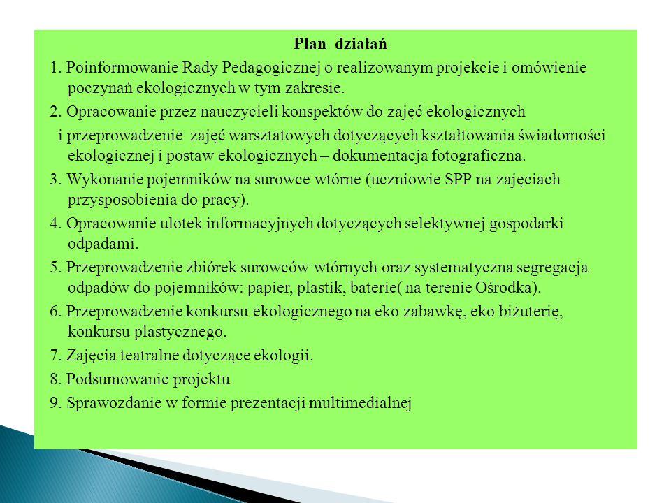 Plan działań 1. Poinformowanie Rady Pedagogicznej o realizowanym projekcie i omówienie poczynań ekologicznych w tym zakresie. 2. Opracowanie przez nau
