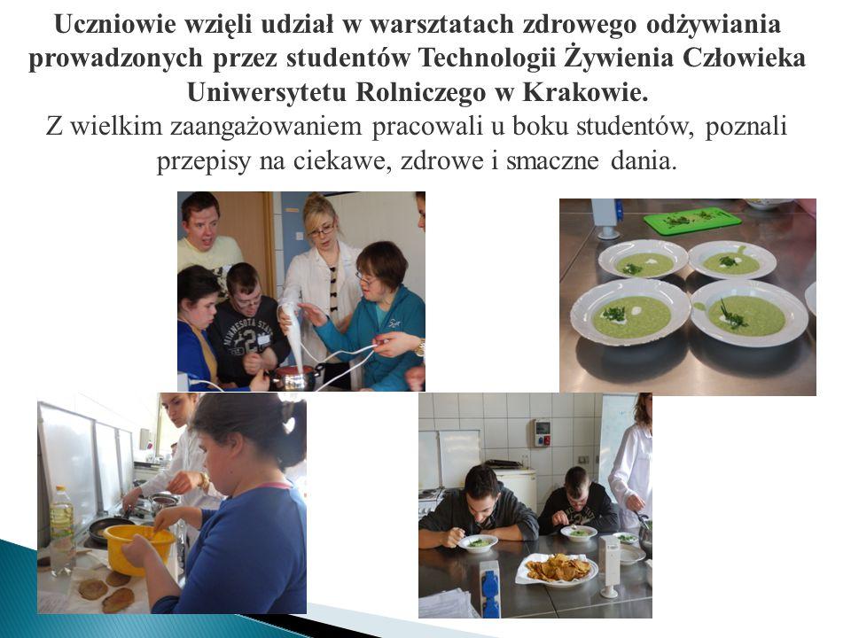 Uczniowie wzięli udział w warsztatach zdrowego odżywiania prowadzonych przez studentów Technologii Żywienia Człowieka Uniwersytetu Rolniczego w Krakow