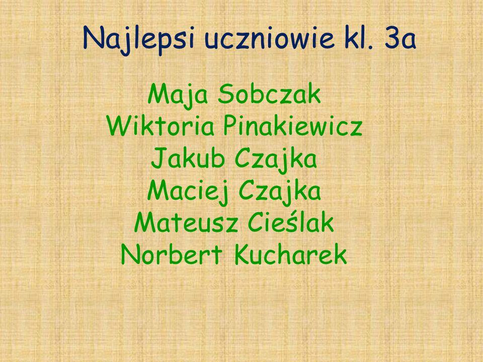 Najlepsi uczniowie kl. 3a Maja Sobczak Wiktoria Pinakiewicz Jakub Czajka Maciej Czajka Mateusz Cieślak Norbert Kucharek
