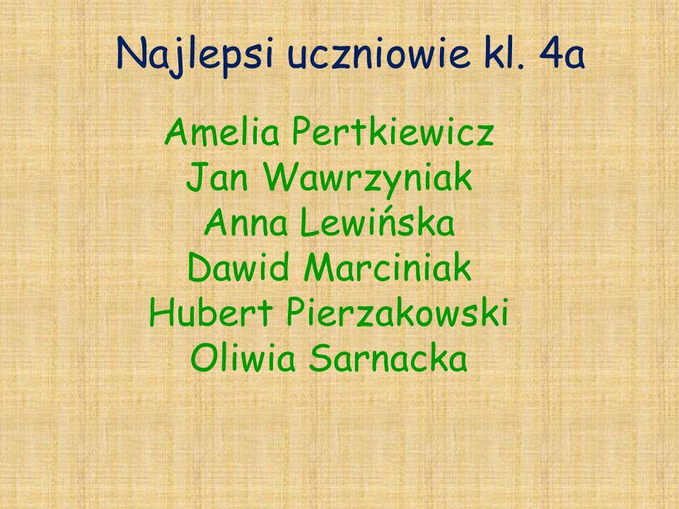 Najlepsi uczniowie kl. 4a Amelia Pertkiewicz Jan Wawrzyniak Anna Lewińska Dawid Marciniak Hubert Pierzakowski Oliwia Sarnacka